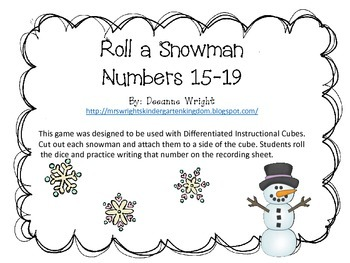 Snowman Roll and Write numbers 15-19