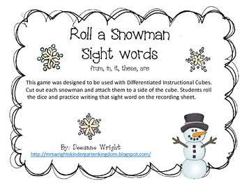 Snowman Roll and Write sight words