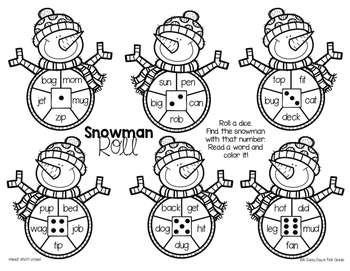 Snowman Roll {CVC, digraphs & blends!}