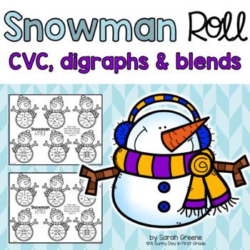 Snowman Roll {CVC, digraphs & blends!}