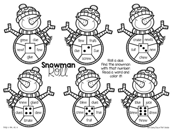 Snowman Roll {vowel teams & diphthongs!}