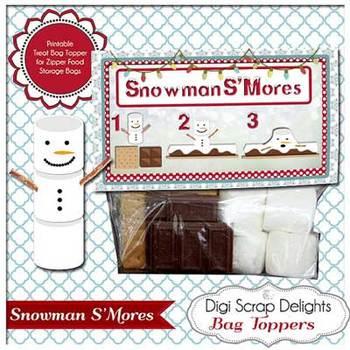 "Snowman S""Mores Printable Bag Topper"