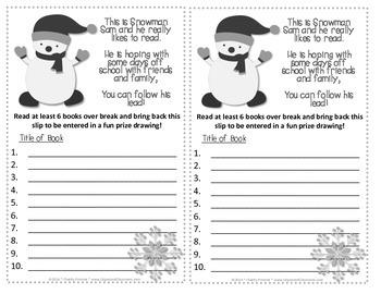 Snowman Sam Winter Break Reading Incentive