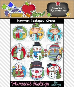 Snowman Scalloped Circles Clipart Collection