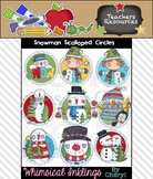 Snowman Scalloped Circles Clipart Collection