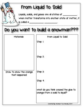 Snowman Science: From Liquid to Solid Experiment {Matter} {Winter}