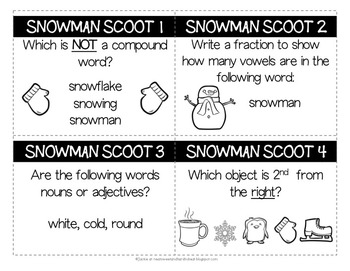 Snowman Scoot: A Mid-Year Cumulative Review in Language Arts & Math