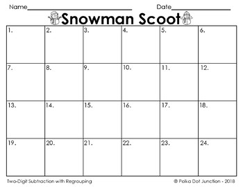 Snowman Scoot Subtraction with Regrouping