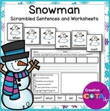 Snowman Scrambled Sentences and Cut and Paste Build a Sentence Worksheets