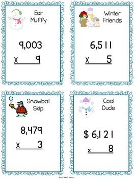 Snowman Search: Multiplication Game CCSS 4NBT.5