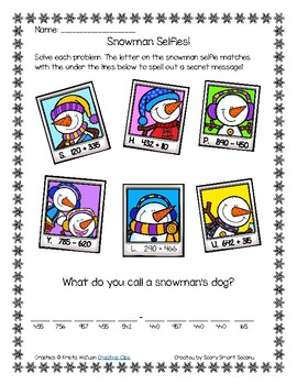 Snowman Secret Message - Addition & Subtraction Within 1,000