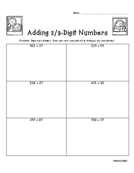 Snowman Selfie Addition Pack - 2 and 3 Digit Addition