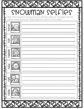 Snowman Selfies - Sentence Editing Activity