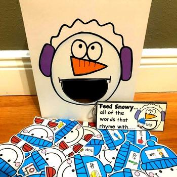 "Snowman Sensory Bin Activities:  ""Feed Snowy"""