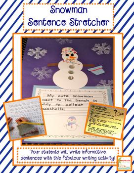 Snowman Sentence Writing Craftivity (Winter) - Common Core
