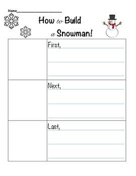 Snowman Sequencing Writing Activity