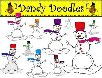 Snowman Set 2 Clip Art by Dandy Doodles