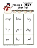 Snowman Short Vowel CVC word bingo game
