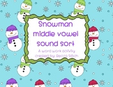 Snowman Short Vowel Sound Sort