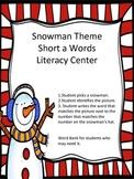 Snowman Short a CVC Word Literacy Center