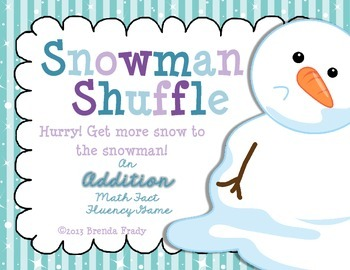 Snowman Shuffle ~Addition Math Fact Fluency Game~