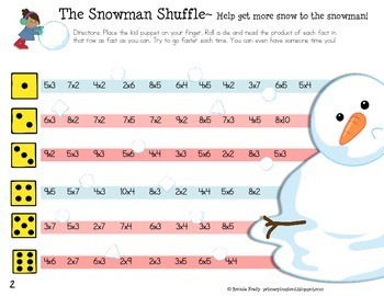 Snowman Shuffle ~Multiplication Math Fact Fluency Game~