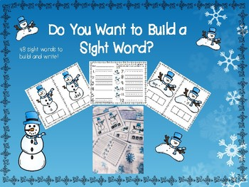Snowman Sight Word Build and write bundle