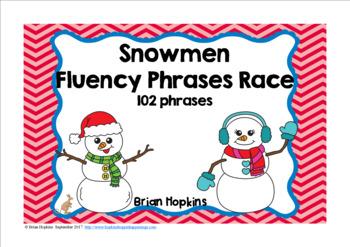 Snowman Sight Word Fluency Phrases Race