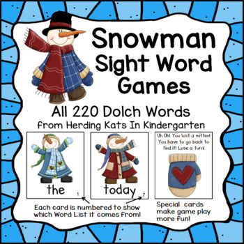 Snowman Sight Word Game (Dolch Word Lists 1-11)