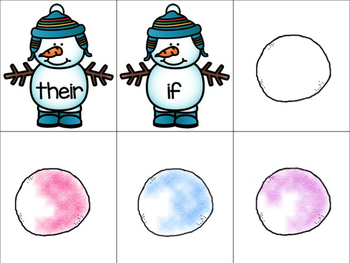 Snowman Sight Word Game- Fry's First 50 Words