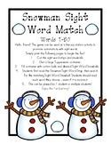 Snowman Sight Word Match 1-50