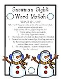 Snowman Sight Word Match 51-100