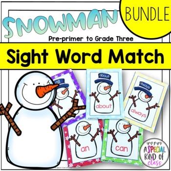 Snowman Sight Word Matching - BUNDLE