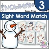 Snowman Sight Word Matching - Dolch Grade Three List