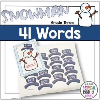 Snowman Sight Word Matching - Dolch Grade Three List