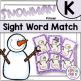 Snowman Sight Word Matching - Dolch Primer List