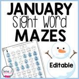 Snowman Sight Word Mazes