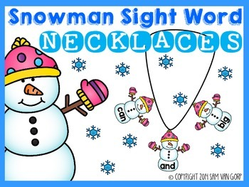 Snowman Sight Word Necklaces