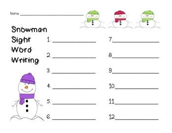 Snowman Sight Word Practice