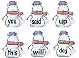 Snowman Sight Words Dobber