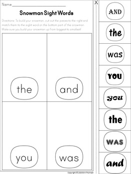 Snowman Sight Words - Fry's First Hundred