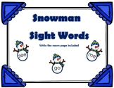 Snowman Sight Words & Write the Room