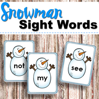 Snowman Sight Words for Winter Language Centers or Reading Activities