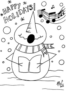 Snowman Singing Holiday Christmas Coloring Sheet