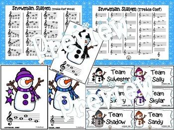 Snowman Slalom Game: Treble Clef