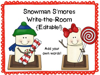 Snowman S'mores Write-the-Room {Editable!}