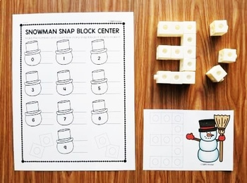 Snowman Snap Block Cards - Letters, Numbers, and Sight Words