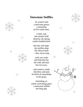 Snowman Sniffles Poem