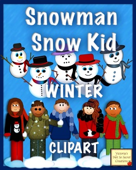 Snowman Snow Kids WINTER HOLIDAY Christmas CLIPART pngs