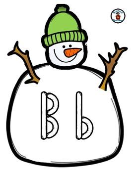Snowman / Snow  -  Play Dough Manipulative Mats - Alphabet Numbers Colors Shapes